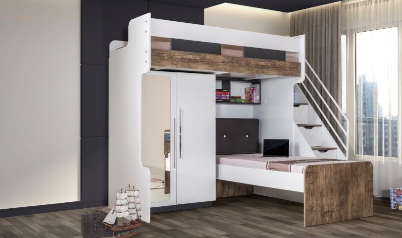 Flexa white hoogslaper in bedroom teen kids bedroom