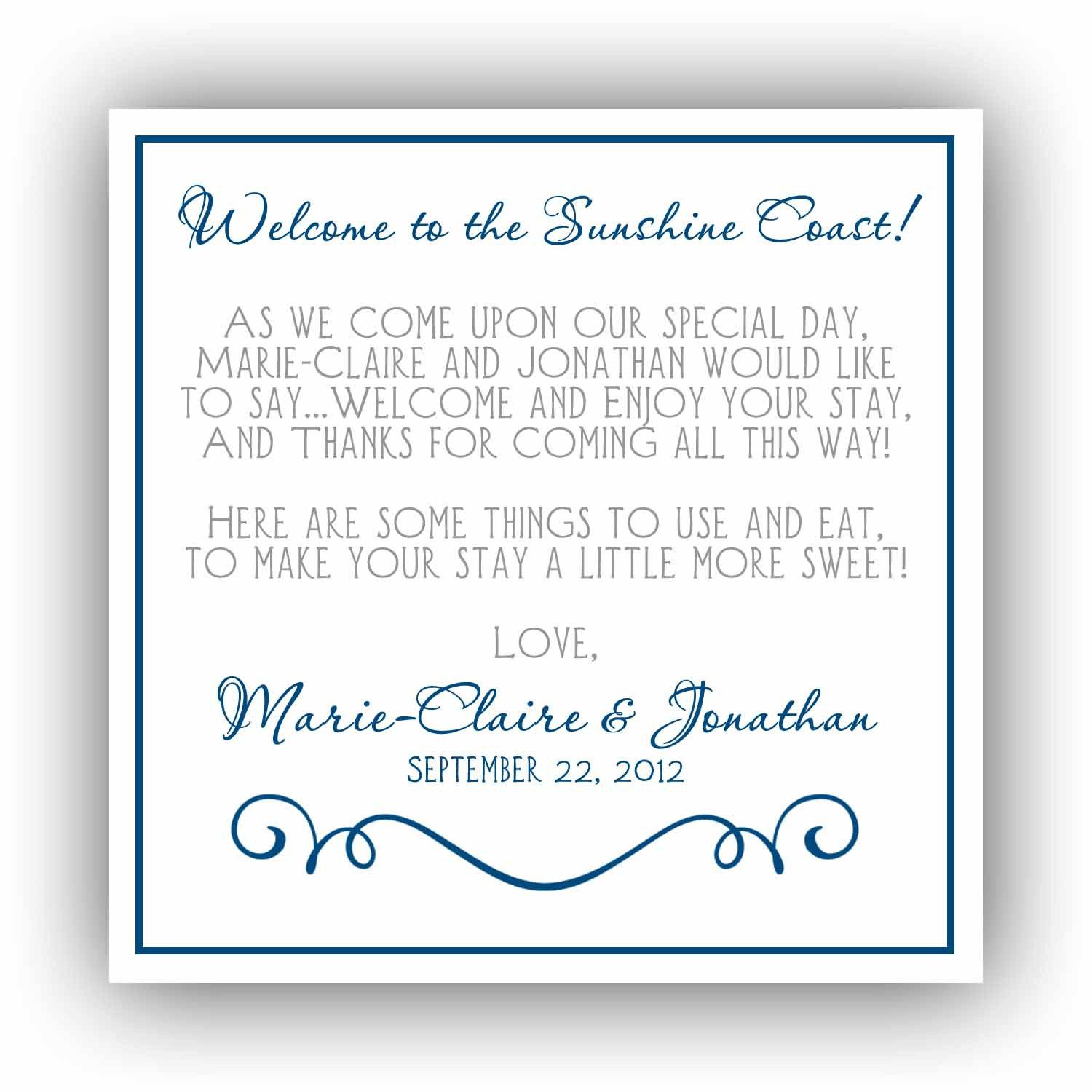 Printable Hotel Welcome Bag Tags- Weddings, Special Events, Showers ...