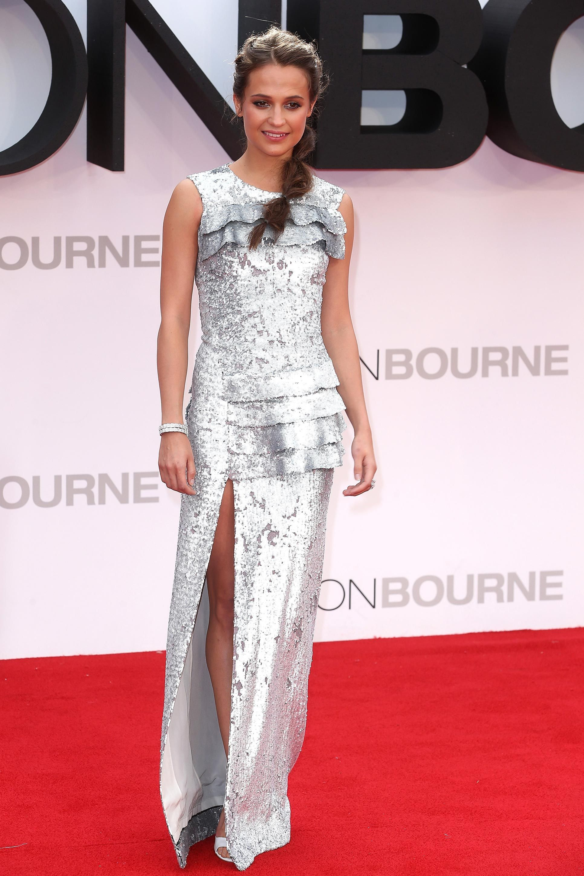 Alicia Vikander's Shining, Silver-Sequined Red Carpet Moment