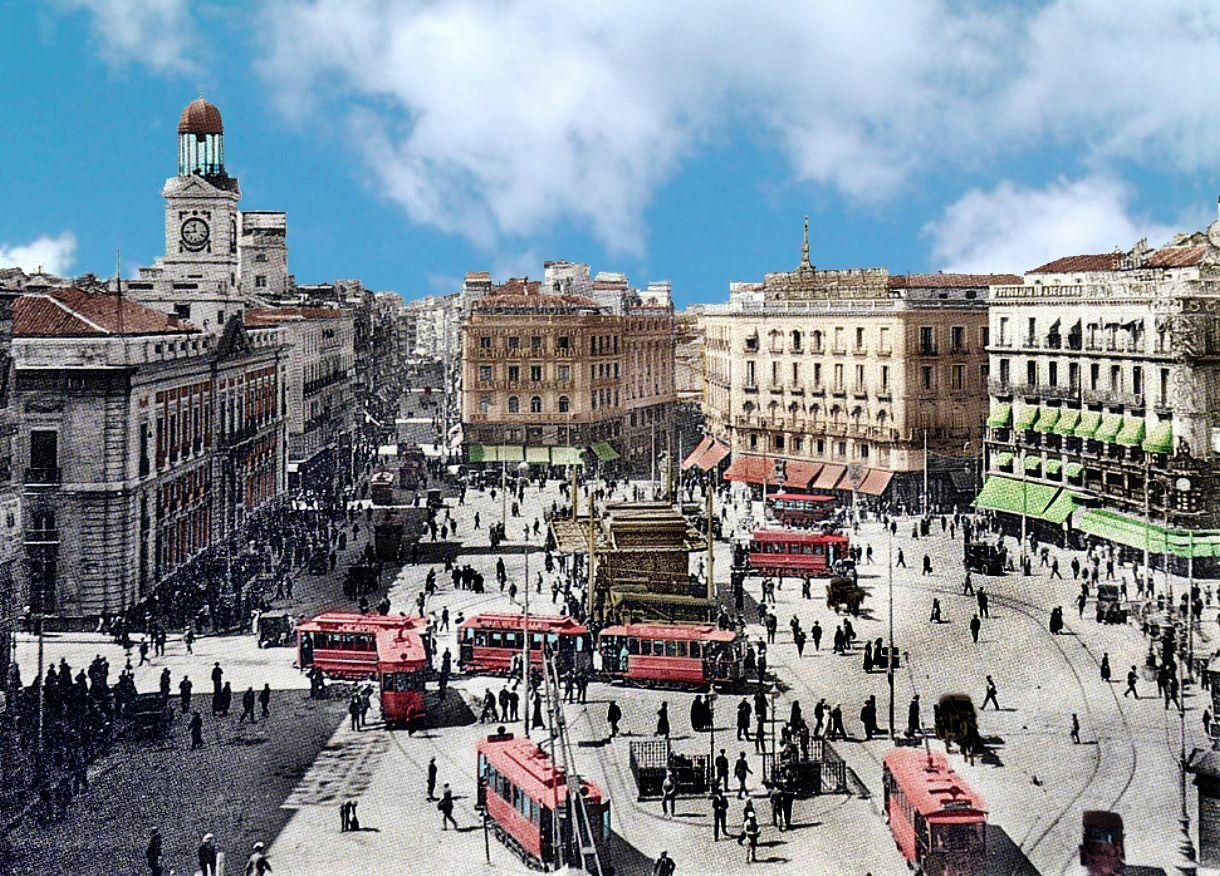 Madrid antiguo en color puerta del sol 1920 se alar que for Cc puerta del sol