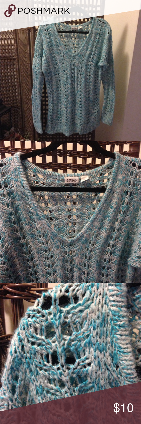 Teal & Ivory Open Weave Sweater Teal & Ivory Open Weave Sweater.....gently used....you will need to wear something under it because it does not come with anything. 100% Acrylic Cato Sweaters Crew & Scoop Necks