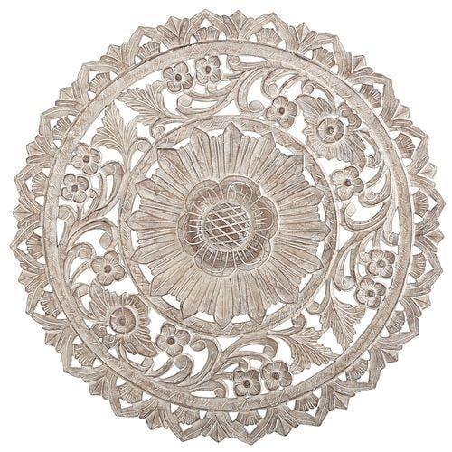 Carved Whitewashed Round Wall Decor Pier Imports Medallion