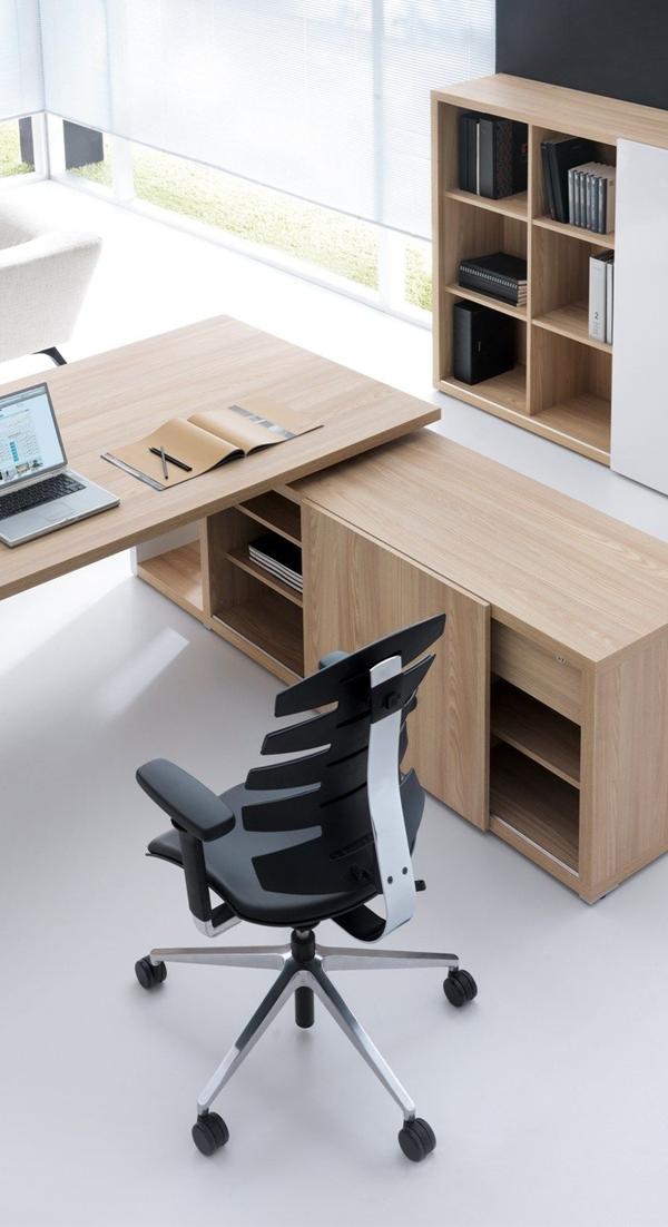 Escritorio ejecutivo tonos madera clara escritorio en for Escritorios de oficina