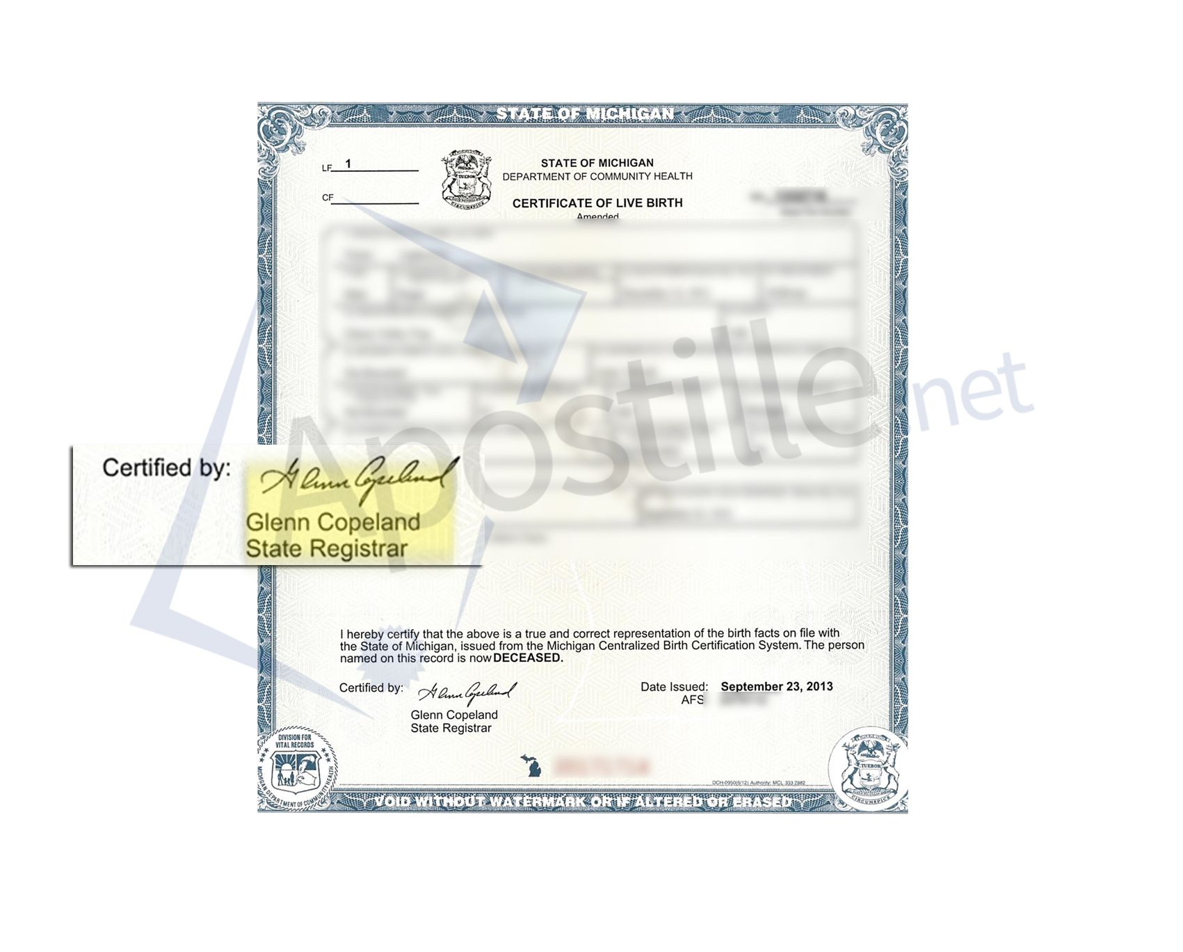 State Of Michigan Birth Certificate Signed By Glenn Copeland State