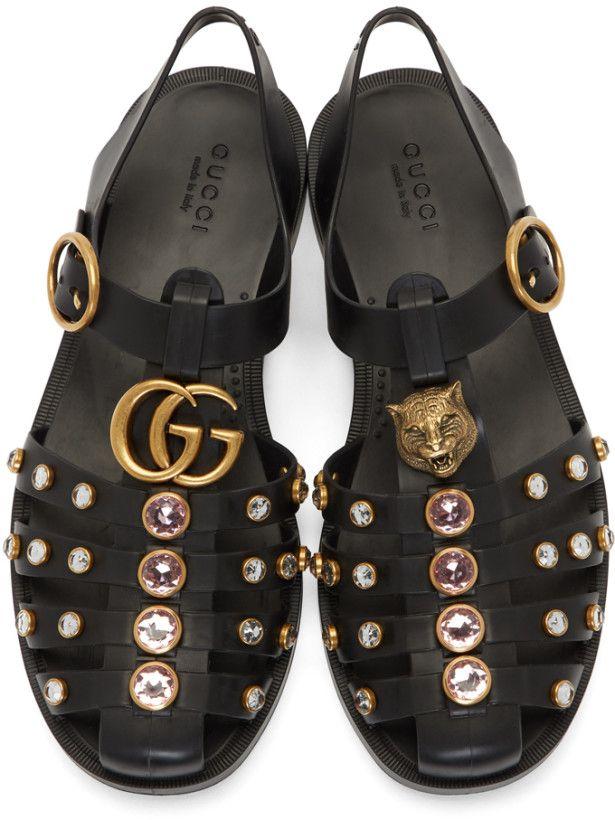 5e73cbeba229 Gucci - Black Studded Rubber Sandals