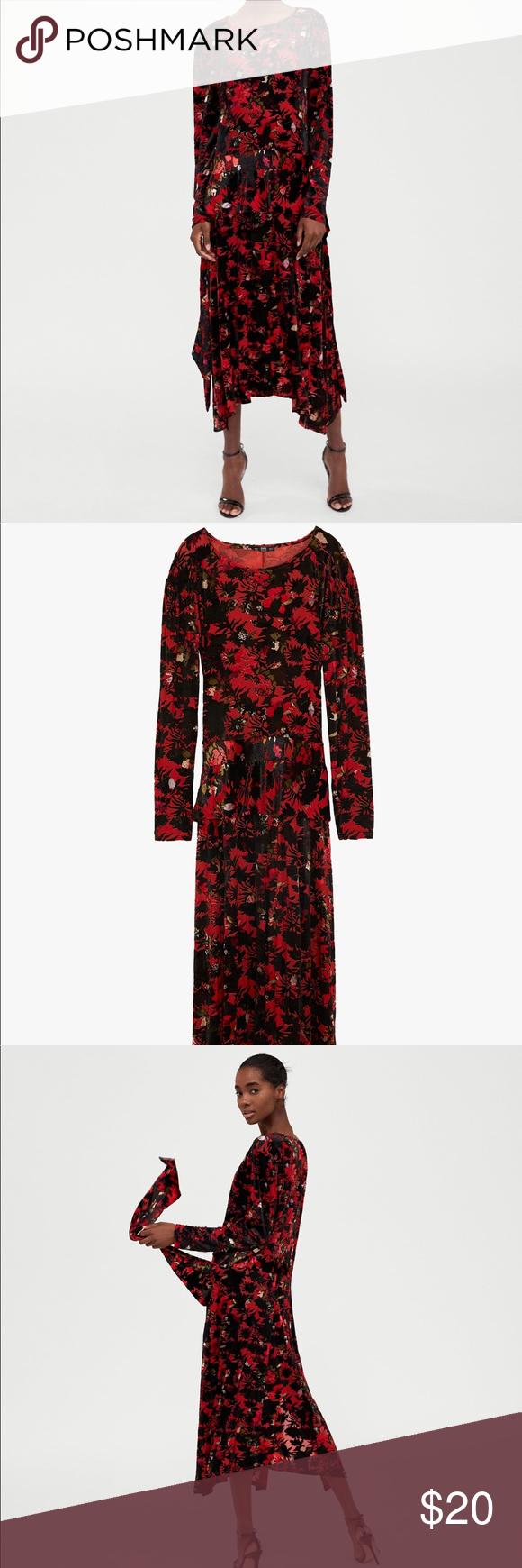 Zara long red velvet dress nwt my posh picks pinterest fabric