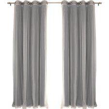 Brunilda Solid Sheer Thermal Grommet Curtain Panels