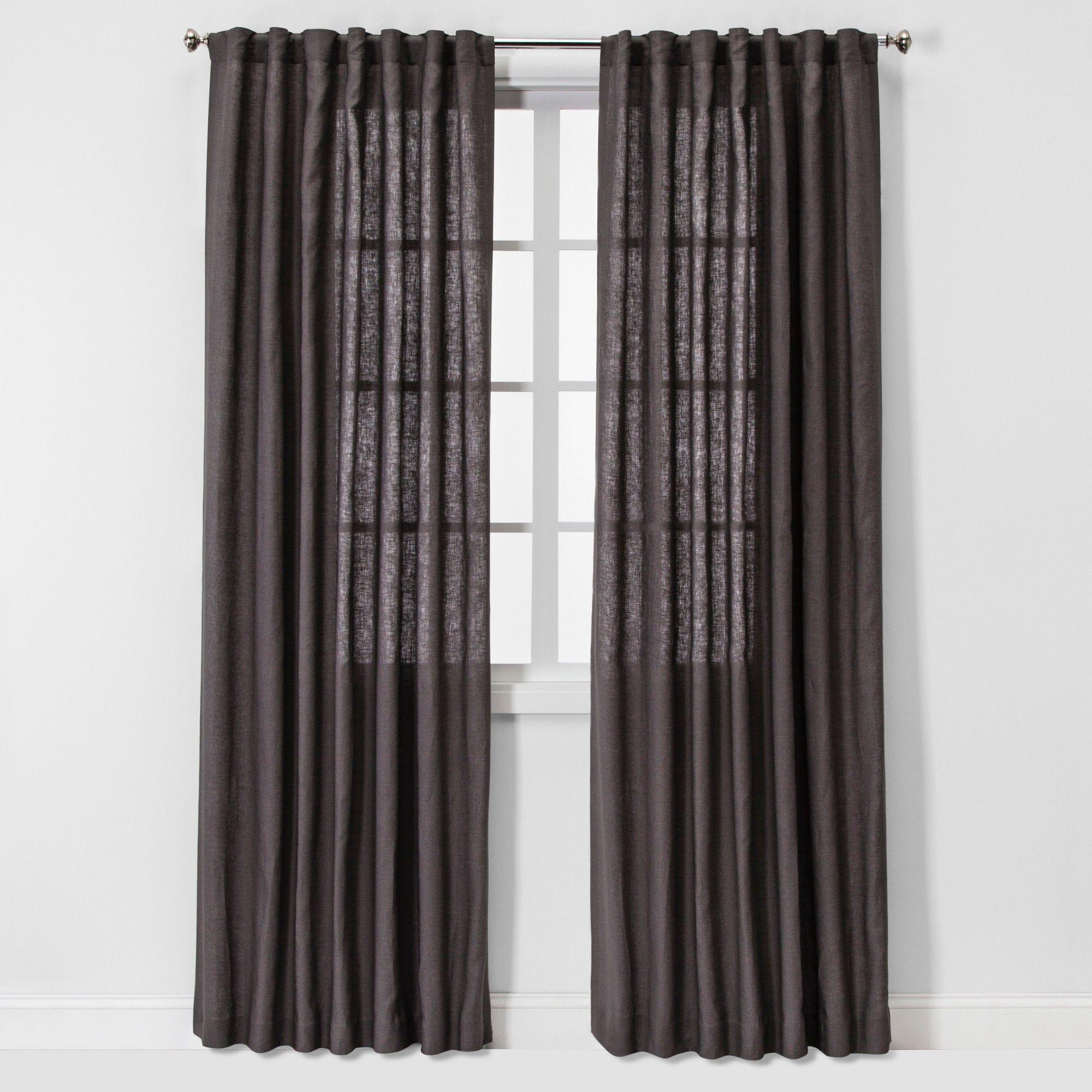 "84""x54"" Light Filtering Linen Window Curtain Panel Brown"
