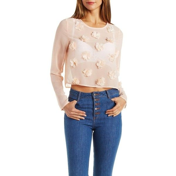 Charlotte Russe Blush Chiffon Top with Flowers by Charlotte Russe at... ($43) ❤ liked on Polyvore featuring tops, blush, long sleeve keyhole top, embellished tops, chiffon top, pink chiffon top and long sleeve tops