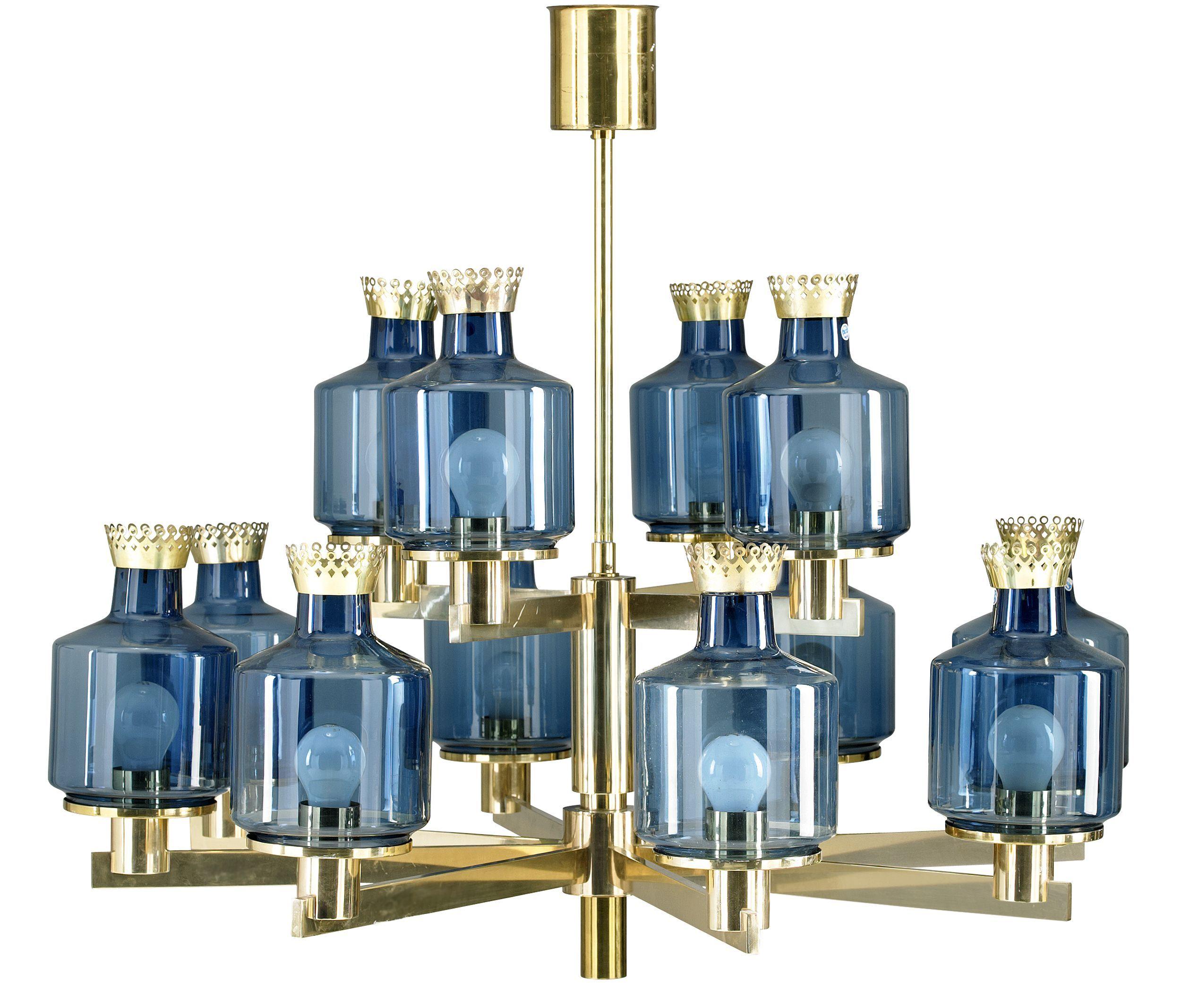Hans Agne Jakobsson chandelier Markham 1960 70s 12 armed