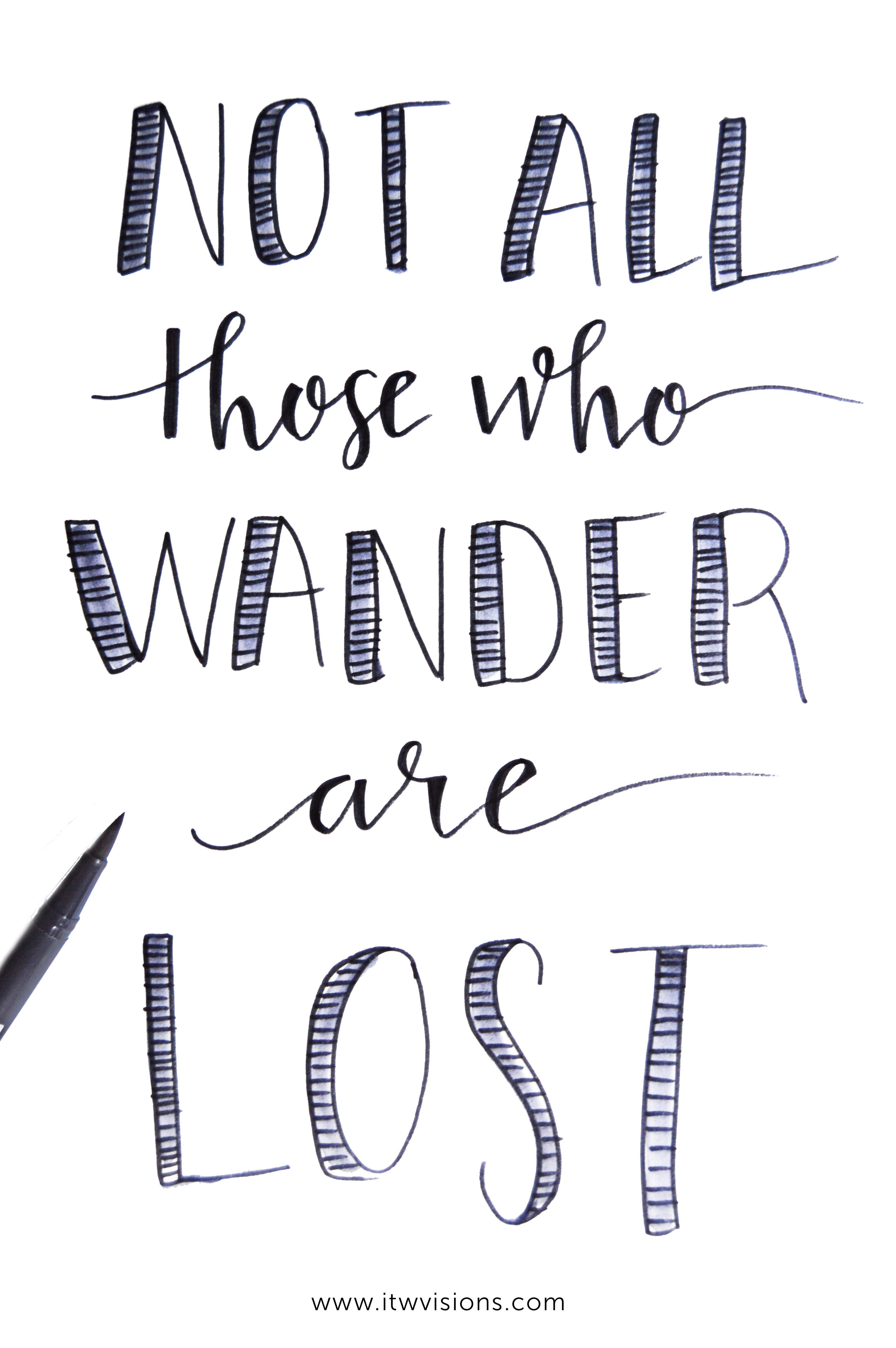 Not All Those Who Wander Are Lost Quote Meaning Not All Those Who Wander Are Lost Ladies Roadtrip Tee Itw Visions Hand Lettering Quotes Inspirational Quotes Handwritten Art Quotes Inspirational