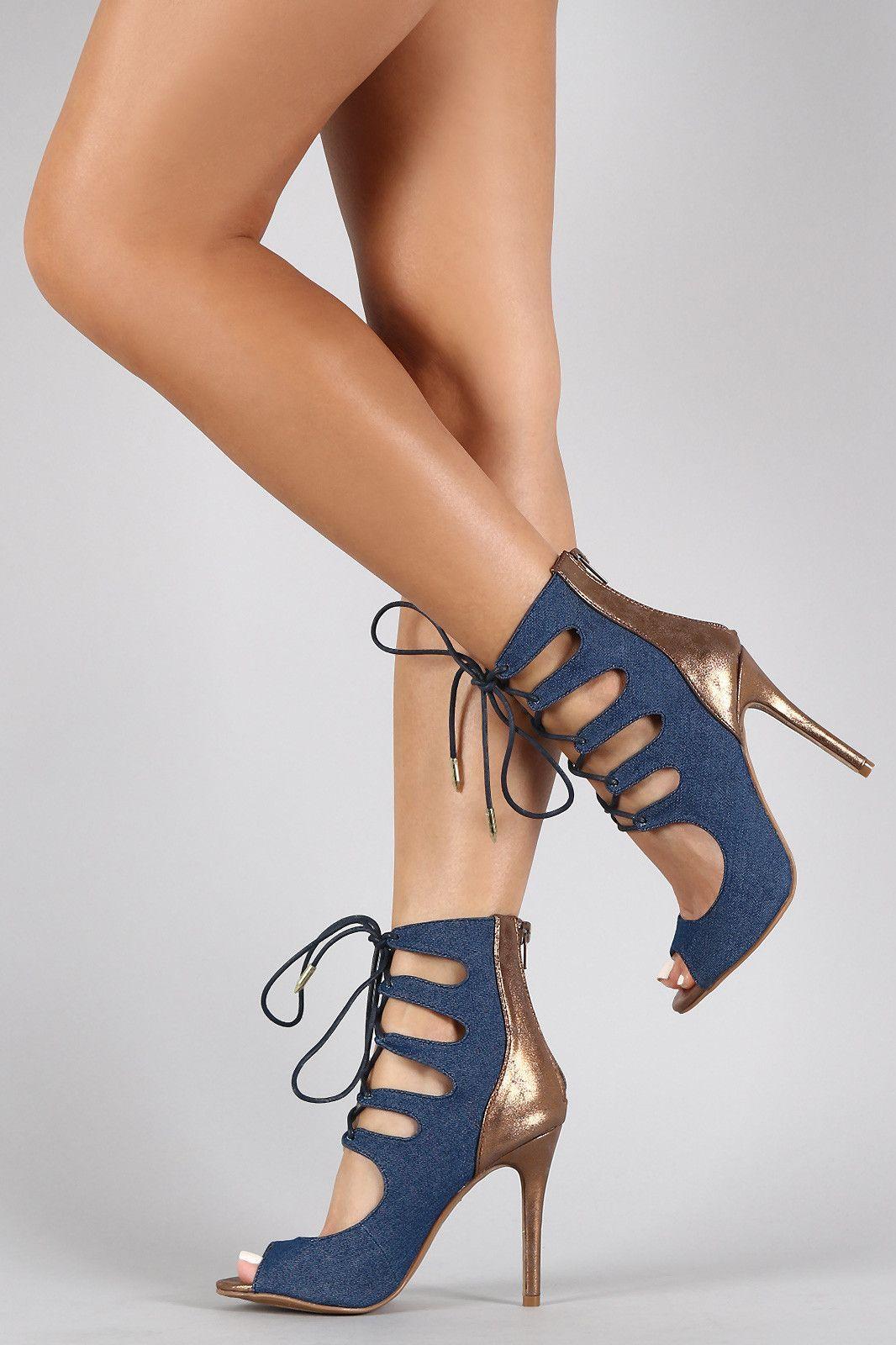 9f3f54c891 Shoe Republic LA Ankle Cuff Corset Lace Up Stiletto Pump