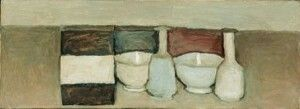 Still life, 1954. Oil on canvas 26 x 70 cm Mart, Museum of Modern and Contemporary Art of Trento and Rovereto,  and Francesca Collection Augusto Giovanardi.Stock Photography Mart © Giorgio Morandi by SIAE 2008