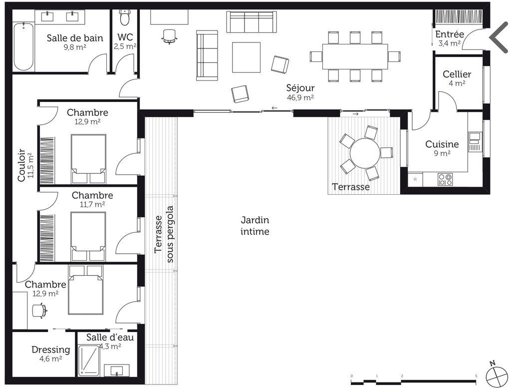 Plan Maison U 3 Chambres
