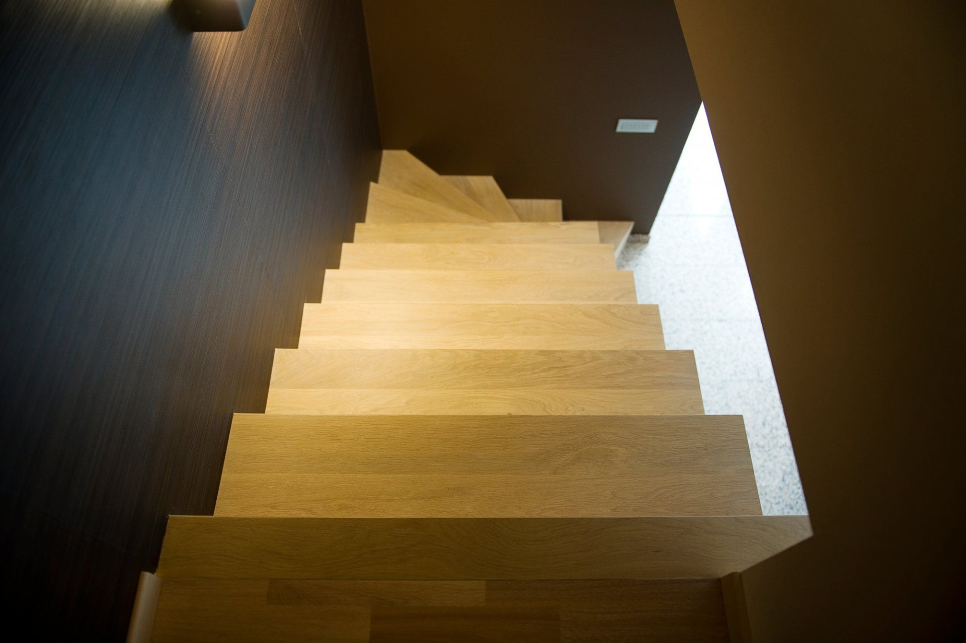 rechte treden trap met kwartslag, bovenaanzicht