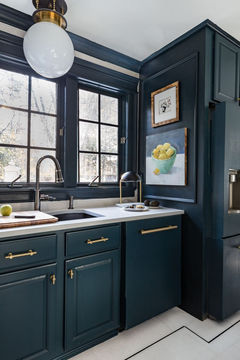 The Tile Shop San Dona Marble Floors With Black Pinstripe And Hague Blue Cabinets For Kitchen Updates Hague Blue Kitchen Blue Kitchens Interior