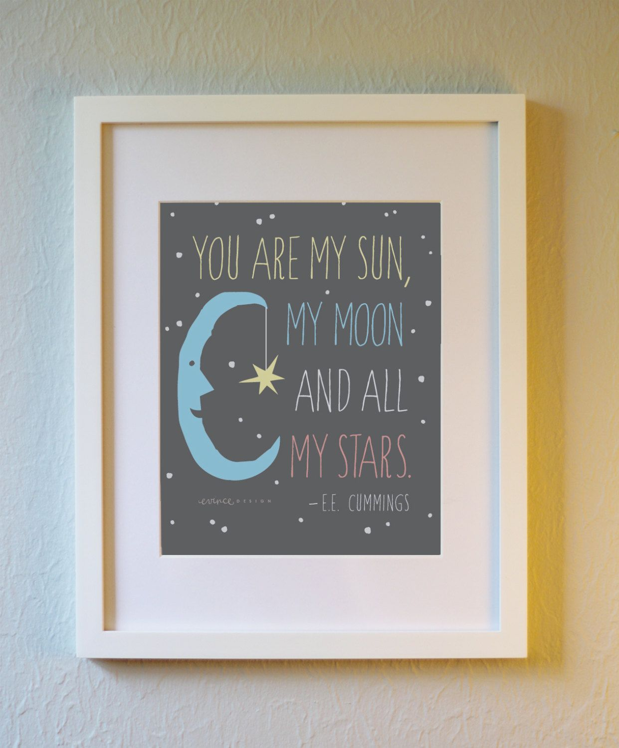 E.E. Cummings Sun Moon and Stars Print by evincedesign on Etsy, $8.00
