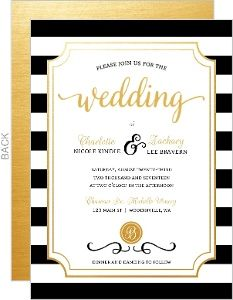 True Love Stripes Wedding Invitation