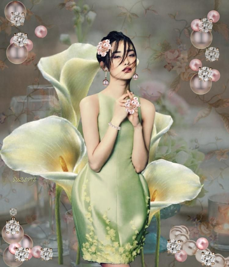 A Study in Pastel  #collage #digital #fashion #phuong my #model #lui wen #pastel #pink #green #pearls #diamonds #calla lily - Suzette ✨ @bazaart