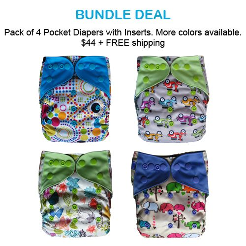 Bundle Deal! (4) Pocket Diapers with inserts- $44 plus FREE SHIPPING!: http://goo.gl/gtKfr4
