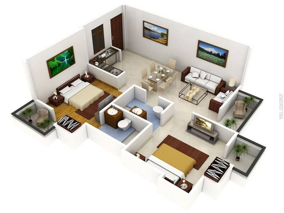 Dekorasi Rumah Minimalist 50 Denah Rumah Minimalis 3d 3 Kamar Tidur 2 Lantai Dan 2 Kamar Tidur Denah Lantai Rumah Denah Rumah Desain Rumah
