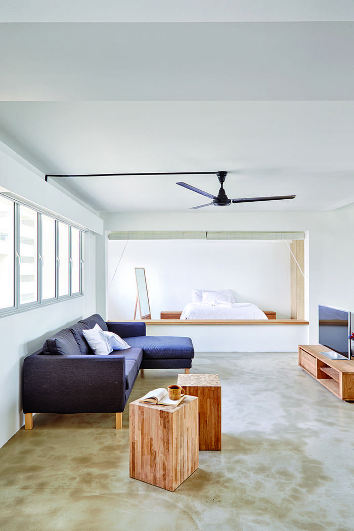 7 HDB Flat Homes With Concrete Screed Flooring And Wood Tones