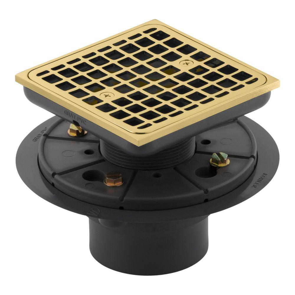 Kohler Square Tile In Shower Drain In Vibrant Polished Brass K