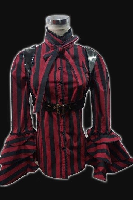 Damen Bluse Steampunk Gothic Victorian Barock RQ Amphi Rot Red Striped Blouse