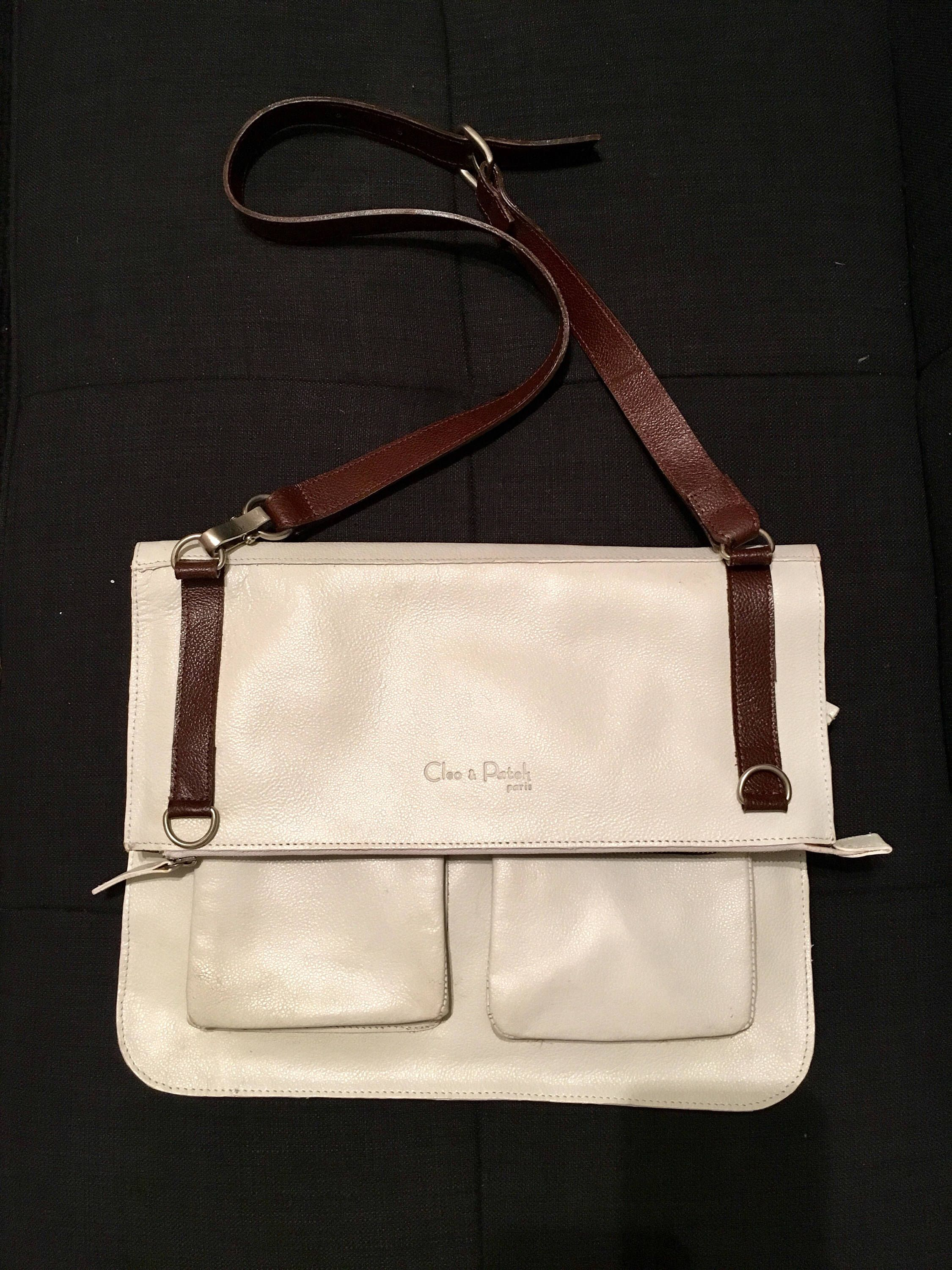 Vintage Cleo Patek Paris White Leather Crossbody Messenger Convertible Bag By Fancydollhouse On