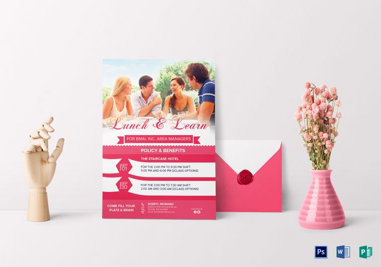 Sweet Lunch  Learn Invitation Template  Invitation Card