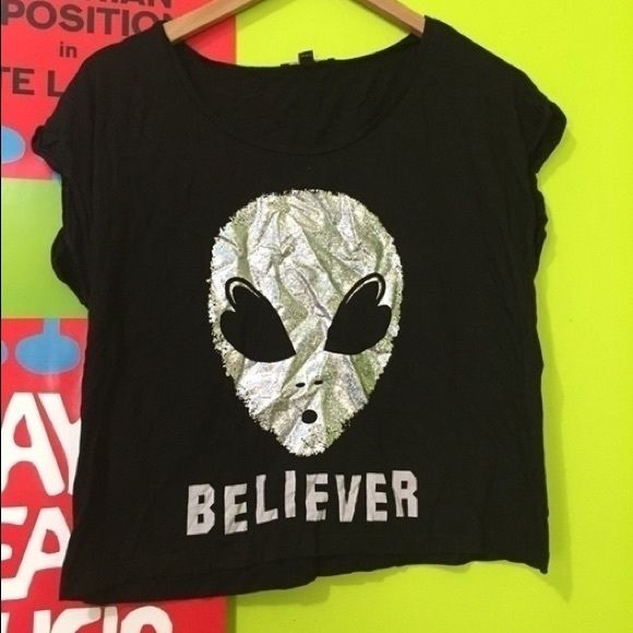 Alien Crop Top  Super cute alien crop! Didn't fit so it's only been tried on once and taken off. Bought at Tally Weijl in Prague! Tally Weijl Tops Crop Tops