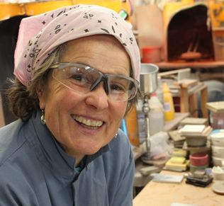"""Winifred Crittenden, glaze developer, Heath Ceramics, employee since 1974. She loves """"putting colors together that sing."""" To learn more about Heath's facilities in San Francisco and Sausolito, check  out the March 2015 issue of Ceramics Monthly. http://ceramicartsdaily.org/ceramics-monthly/ceramics-monthly-march-2015/"""