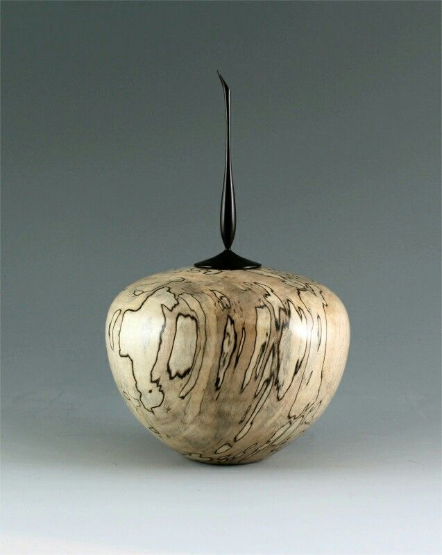 Spalted silver maple hollow form with african blackwood
