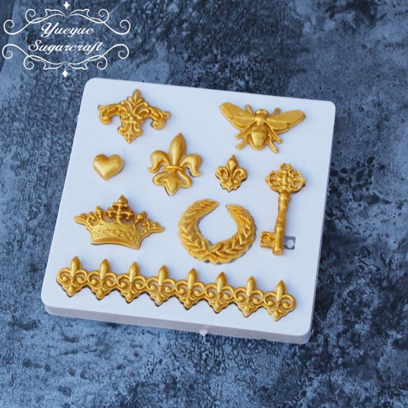 1X Crown Fleur De Lis Heart Fondant Cake Silicone Mold Cupcake Decoration Tool