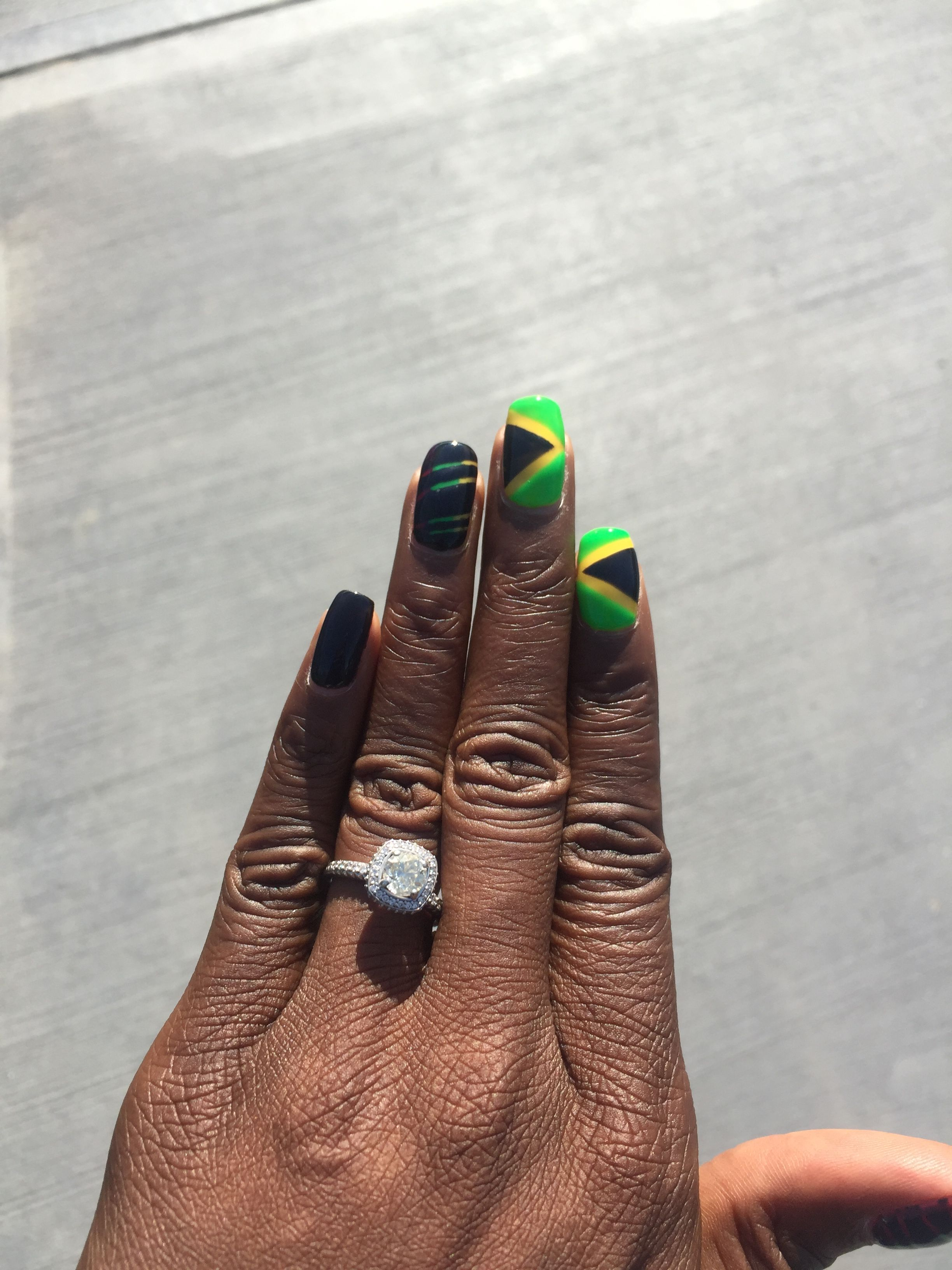 Jamaica Natural Nails Nail Art Reggae Strips Flags Labor Day Nails