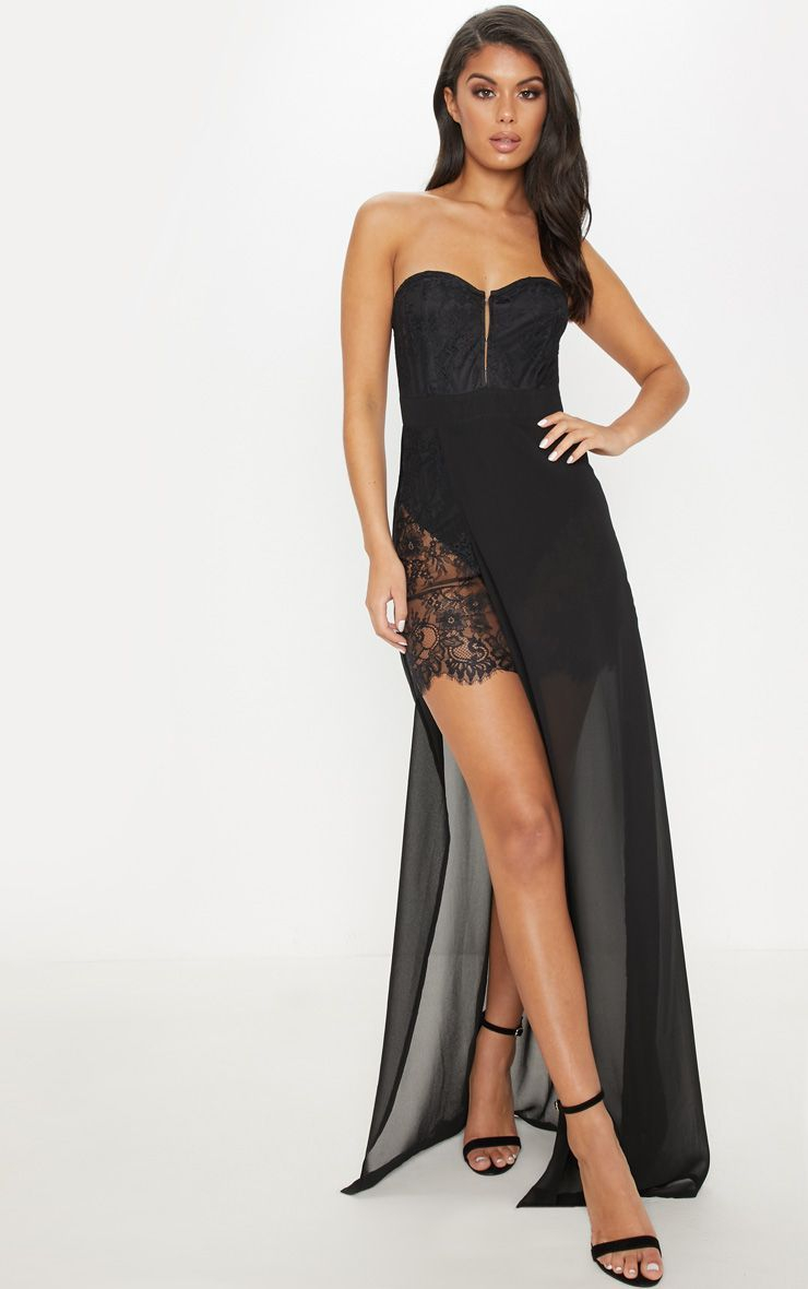 Black Chiffon Lace Thigh Split Maxi Dress Split Maxi Dress Dresses Maxi Dress [ 1180 x 740 Pixel ]