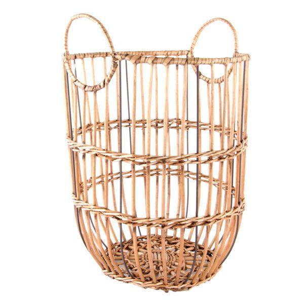 Corbeille de rangement en osier et métal avec poignées \u2013 Boutique d