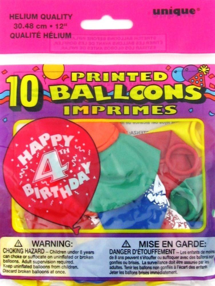 Happy 4th Birthday Balloons