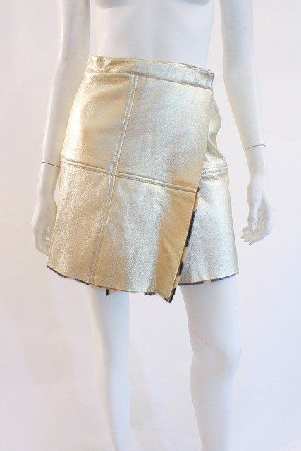 b7bc441f37e95 Vintage Gianni Versace Gold Leather Skirt at Rice and Beans Vintage