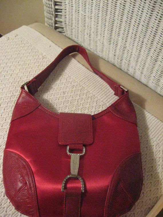 Vintage Cherry Red Satin Lizard Handbag with by SerrinDipitous, $15.00