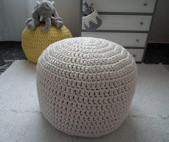 Pure White Crochet Large Pouf Nursery Ottoman Footstool Floor