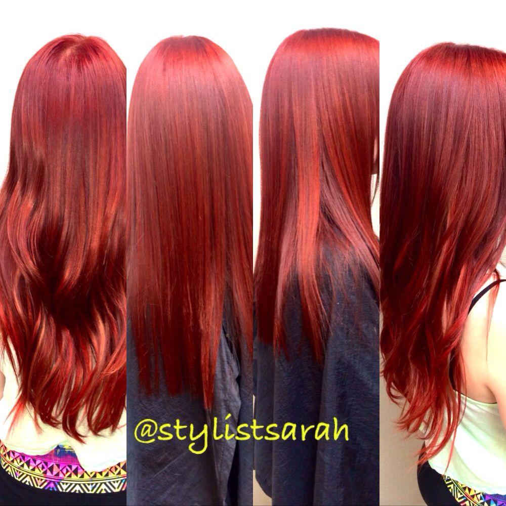 Bright Red Hair And Custom Colored Individual Keratin Bond