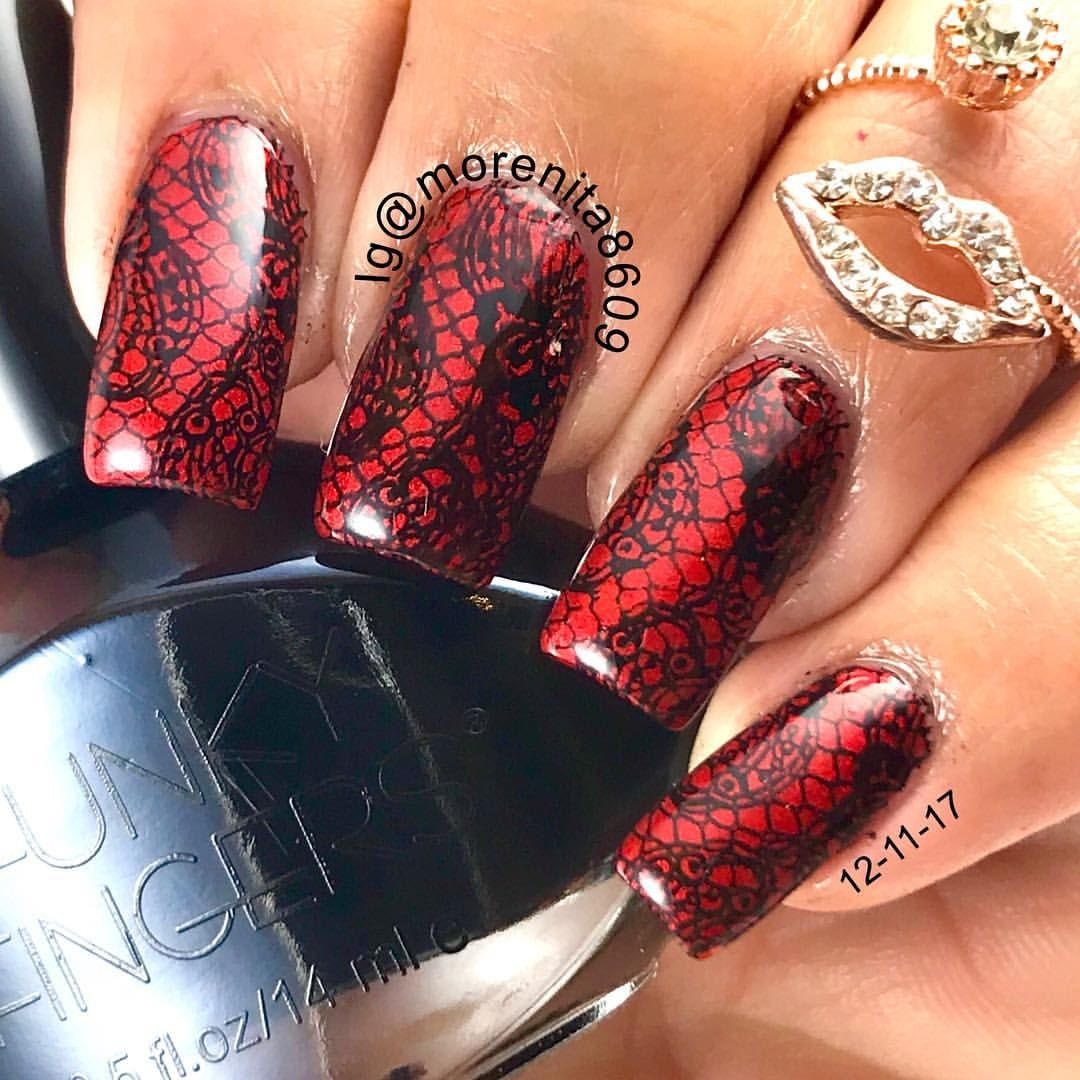 Black Lace Over Red Nails Sexynails Nailstamping Nailart Lace Rednails Nailstyle Unas Disenodeunas Style Fashio Nails Lace Nails Lace Nail Design