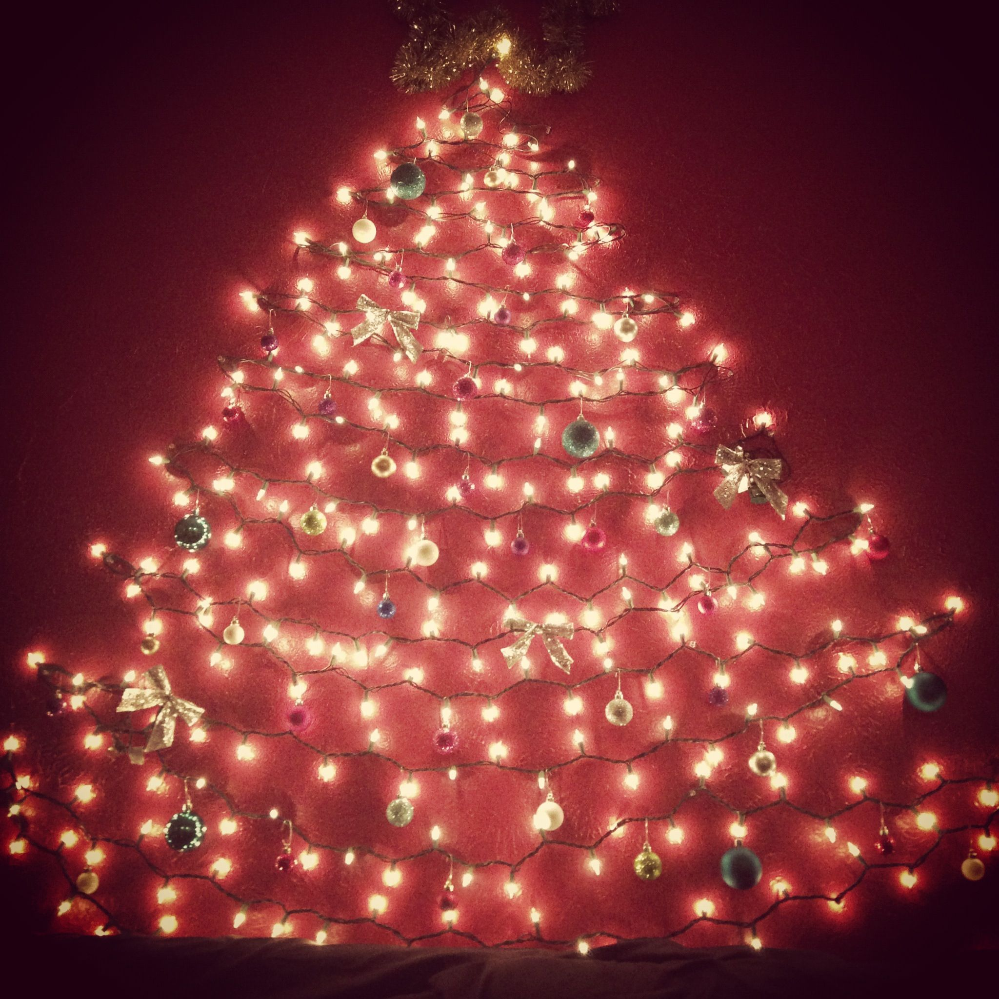 Lights On Wall In The Shape Of A Tree And Decorated For Dorm Room Christmas D