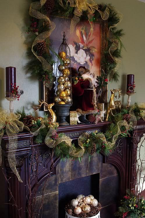 Chimenea con guirnaldas y listones navidad Pinterest Navidad