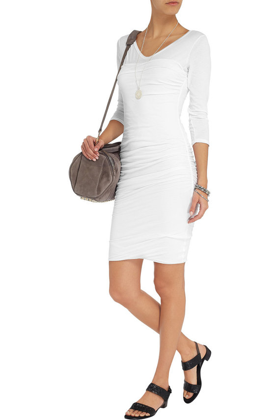 White Shirred T Shirt Dresslong Sleeves T Shirt Dress Formal