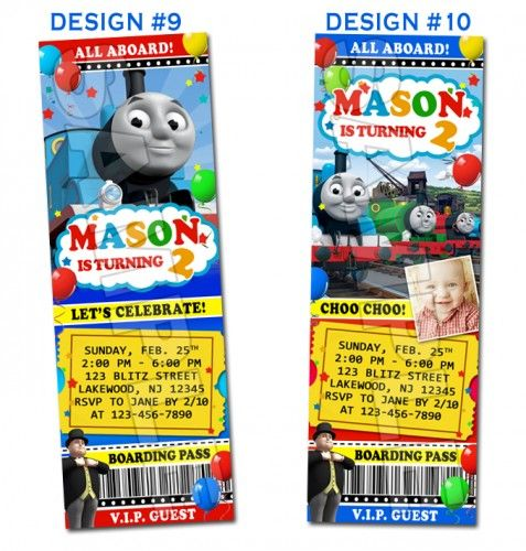 Thomas the Train and Friends Birthday Ticket Invitations