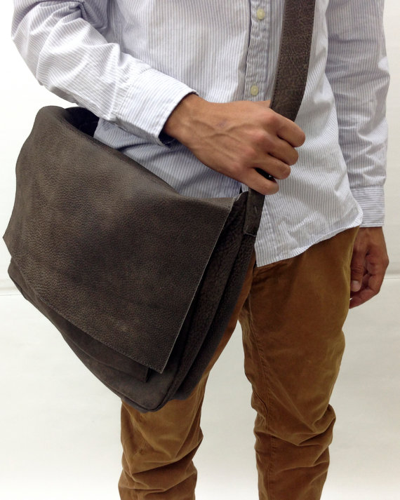 Handmade grey, Distressed Leather Messenger Bag, Men's leather ...
