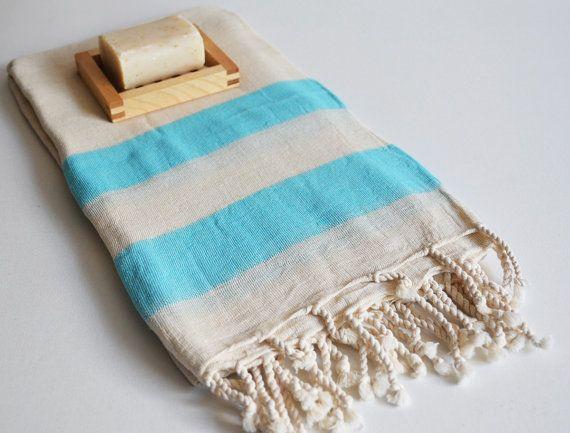 Bathstyle baño turco toalla lino Peshtemal azul por bathstyle