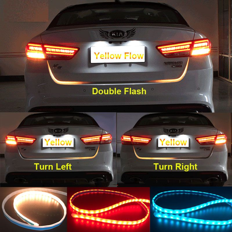 Flow Led Strip Trunk Tail Amber In Turn Signal Light Ice Blue In Daytime Running Light Red In Brake Light Running Lights Ice Blue Light Red